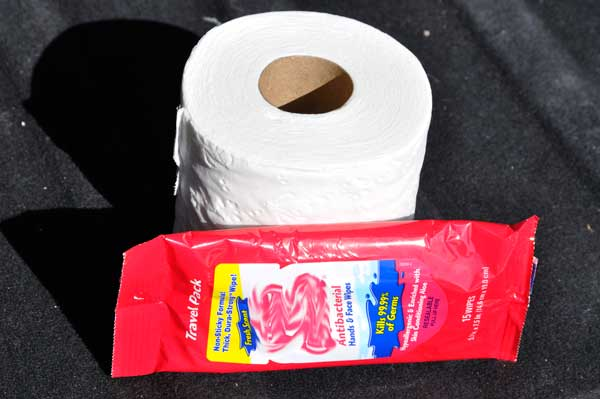 A Roll of Toilet Paper with a Package of Wipes.