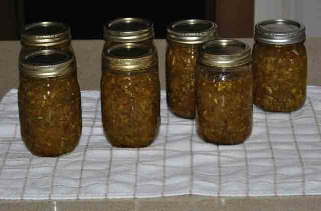 7 Jars of Zucchini Relish